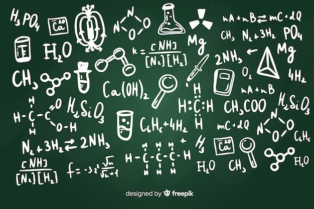 Fond de tableau avec des informations sur la chimie Vecteur gratuit