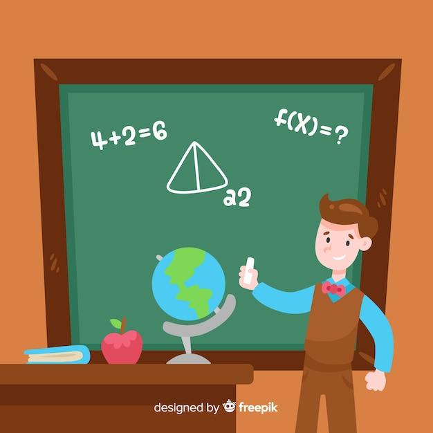 Fond de tableau noir maths de dessin animé Vecteur gratuit