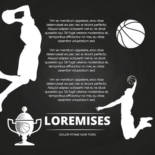 Fond de tableau noir de tournoi de basket-ball Vecteur Premium