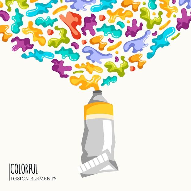 Fond avec des taches colorées et pulvérise sur un blanc. Vecteur gratuit
