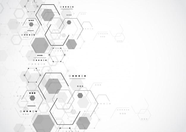 Fond de tech abstrait de structure moléculaire Vecteur Premium