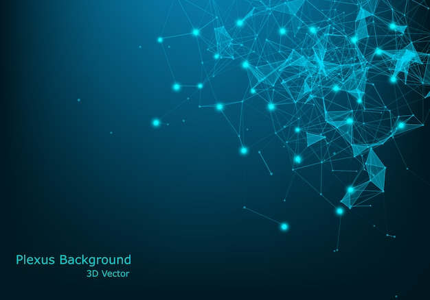 Fond de technologie abstraite. fond de science. big data. contexte . effet plexus. structure de connexion réseau. Vecteur Premium