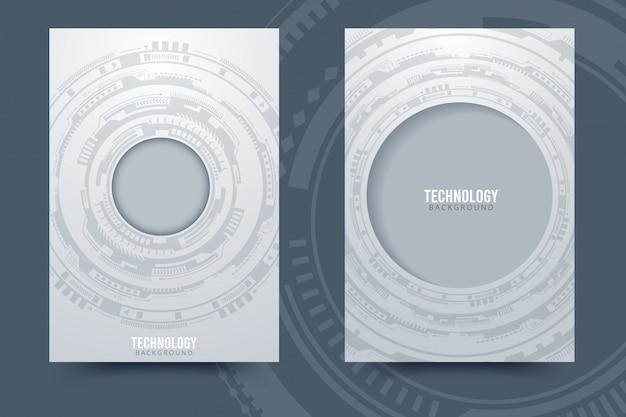Fond De Technologie Abstraite Gris Blanc Avec Divers éléments Technologiques Vecteur Premium