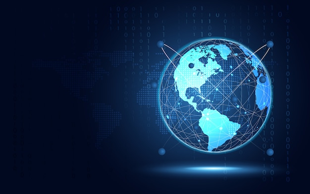 Fond de technologie abstraite terre bleue futuriste Vecteur Premium