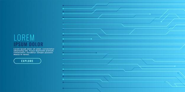 Fond de technologie bleue élégante avec des lignes de circuit Vecteur gratuit