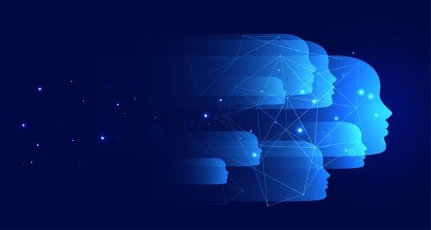 Fond de technologie bleue avec de nombreux visages Vecteur gratuit