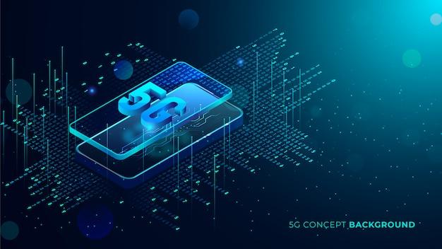 Fond De Technologie Cinq G Avec Du Texte 3d Points Lumineux Bleus Sortant Du Téléphone Vecteur Premium