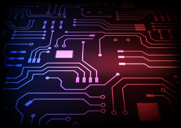 Fond De Technologie De Circuit Avec Système De Connexion De Données Numériques De Haute Technologie Et Conception électronique Par Ordinateur Vecteur Premium