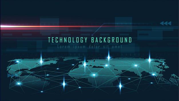 Fond de technologie avec le concept de connexion globale Vecteur Premium