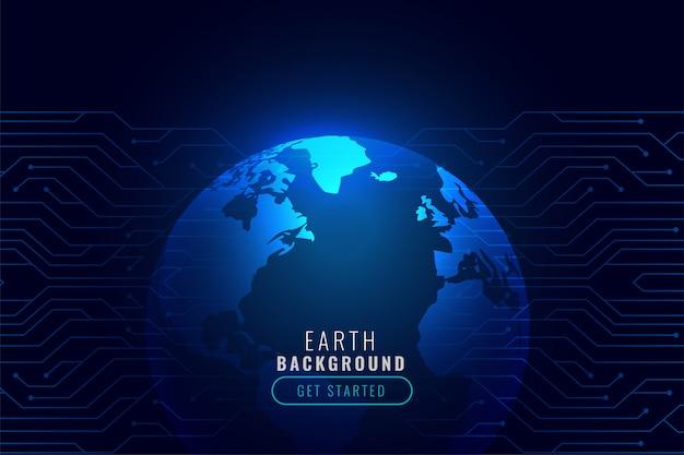 Fond de technologie avec la forme de la terre Vecteur gratuit