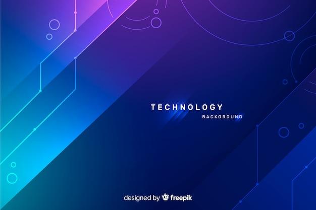 Fond de technologie avec des formes abstraites bleues Vecteur gratuit