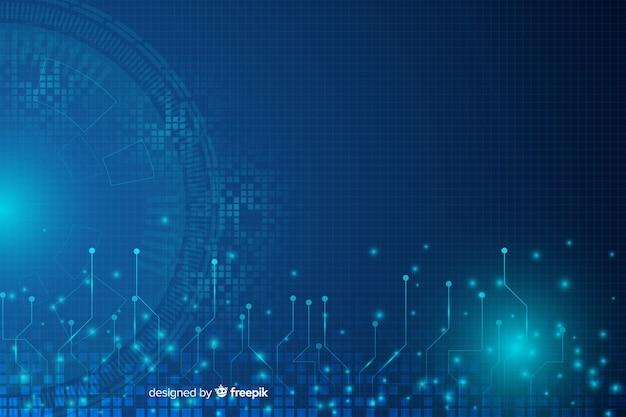 Fond De Technologie Hud Abstrait Bleu Vecteur gratuit