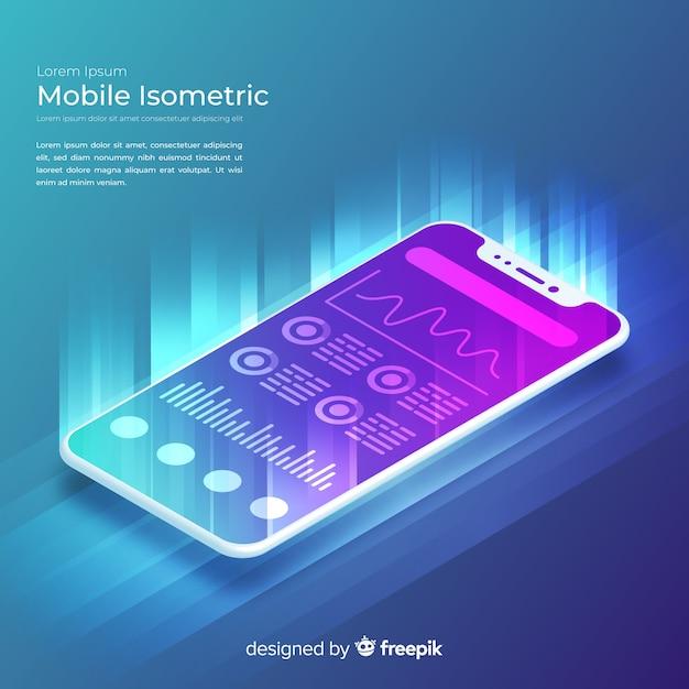 Fond de technologie isométrique smartphone dégradé Vecteur gratuit
