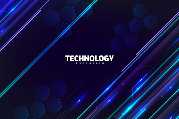Fond De Technologie Avec Des Néons Vecteur gratuit