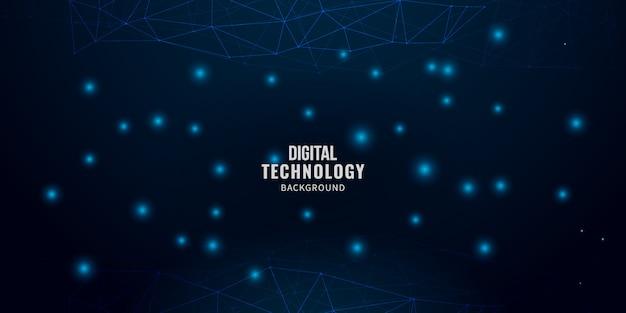 Fond de technologie numérique avec des lignes brillantes maille Vecteur Premium
