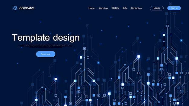 Fond De Technologie De Page De Destination Avec Des Textures De Circuit Imprimé Abstraites. Vecteur Premium