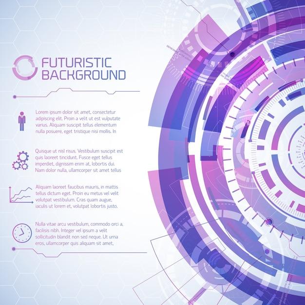 Fond De Technologie Virtuelle Avec Composition D'éléments D'écran Tactile Futuriste Rond Et Paragraphes De Texte Avec Des Icônes Vecteur gratuit
