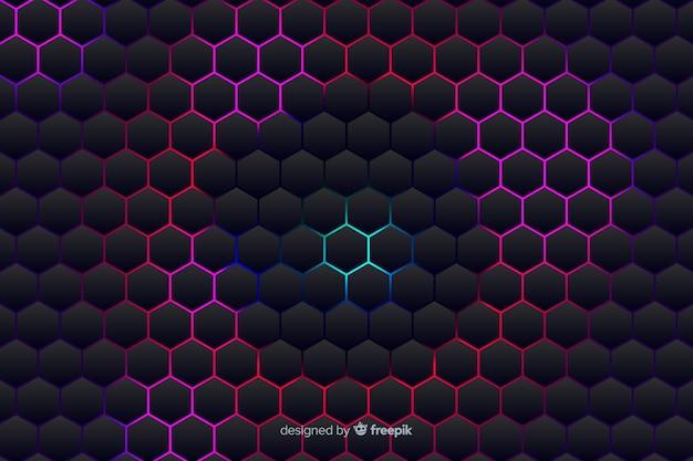 Fond technologique en nid d'abeille sur les nuances violettes Vecteur gratuit