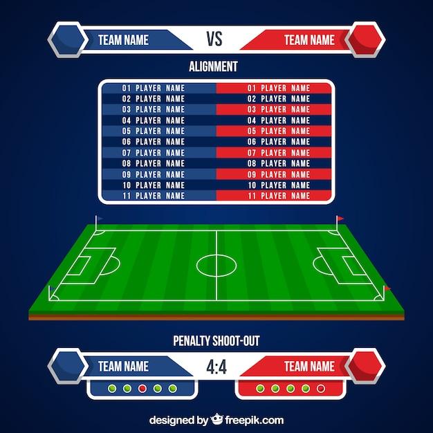 Fond De Terrain De Football Avec Tableau De Bord Vecteur gratuit