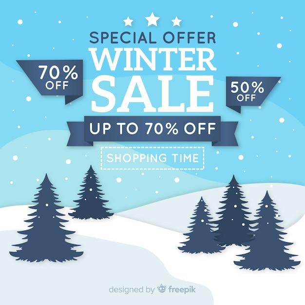 Fond de terrain de vente d'hiver Vecteur gratuit