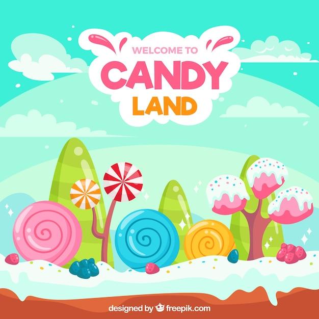 Fond de terre de bonbons colorés Vecteur gratuit