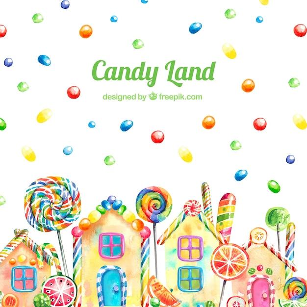 Fond de terre de bonbons dans un style aquarelle Vecteur gratuit