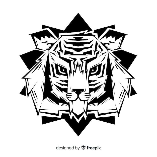 Fond de tête de tigre dessiné à la main Vecteur gratuit