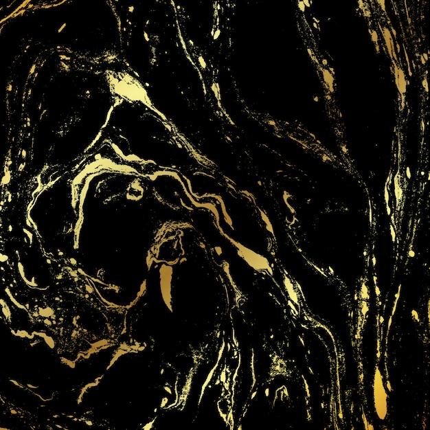 Fond de texture marbre noir et or Vecteur Premium