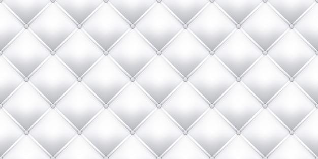 Fond De Texture De Tapisserie D'ameublement En Cuir Blanc. Tapisserie D'ameublement En Cuir De Canapé Royal Vintage Sans Couture Avec Motif De Boutons Vecteur Premium