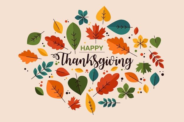 Fond de thanksgiving au design plat Vecteur gratuit