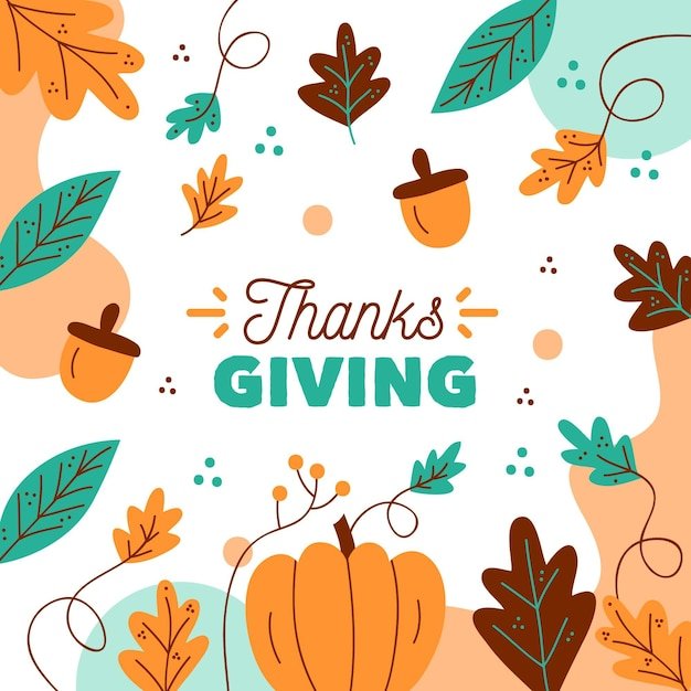 Fond De Thanksgiving De Conception Automnale Vecteur gratuit