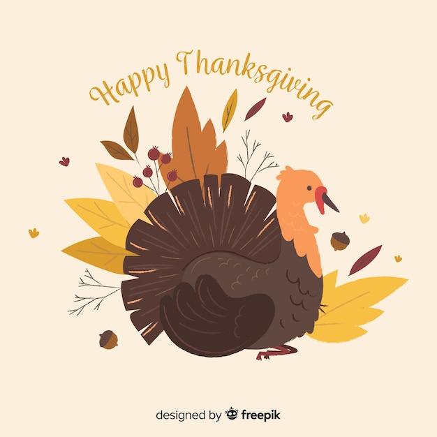Fond de thanksgiving day design plat avec la turquie Vecteur gratuit