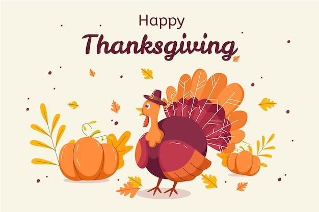 Fond De Thanksgiving Design Plat Vecteur gratuit