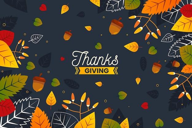 Fond De Thanksgiving Design Plat Vecteur gratuit