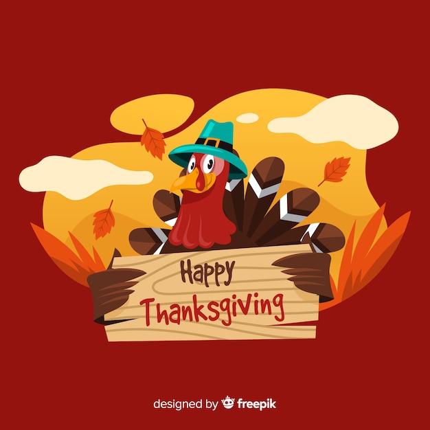 Fond de thanksgiving dessiné à la main avec la dinde Vecteur gratuit