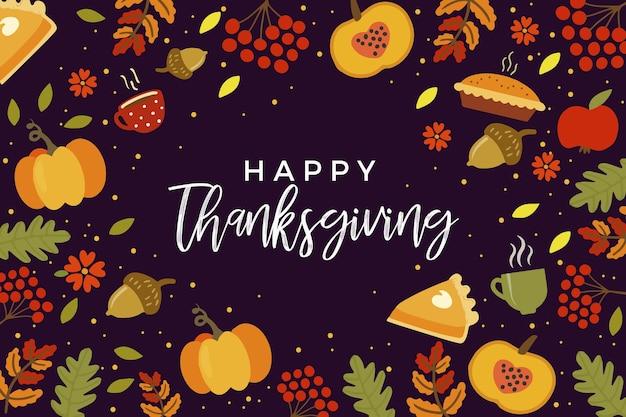 Fond de thanksgiving dessiné à la main avec de la nourriture Vecteur gratuit