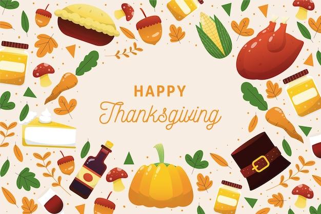 Fond De Thanksgiving Dessiné à La Main Vecteur Premium