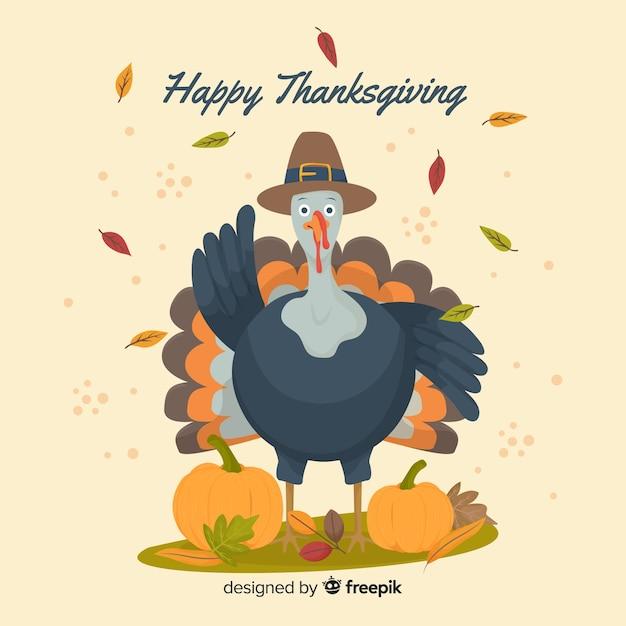 Fond de thanksgiving turquie design plat Vecteur gratuit