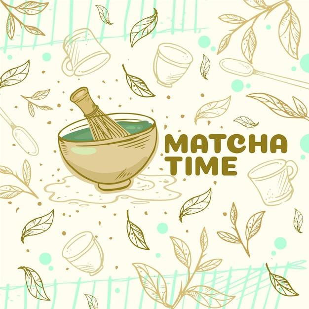 Fond De Thé Matcha Dessiné à La Main Vecteur gratuit