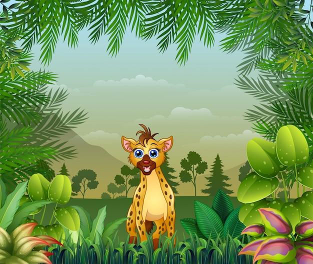 Fond sur le thème de la jungle avec une hyène Vecteur Premium