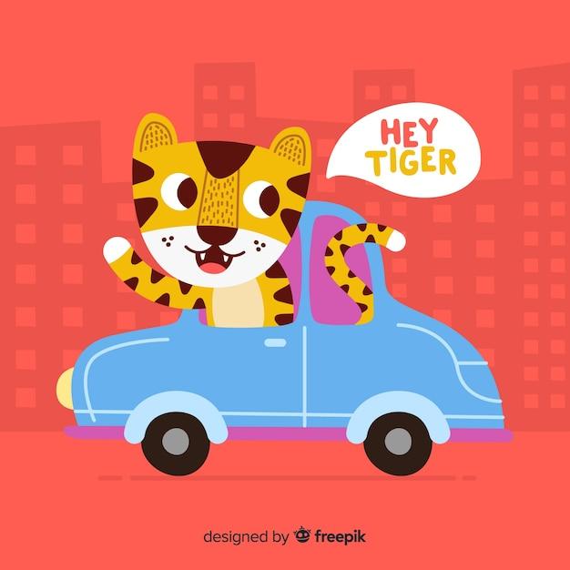 Fond de tigre mignon Vecteur gratuit