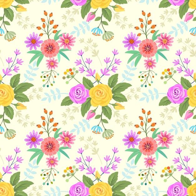 Fond de tissu de fleurs colorées. Vecteur Premium