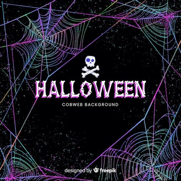 Fond de toile d'araignée colorée d'halloween Vecteur gratuit