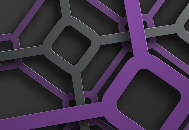 Fond Avec Une Toile D'araignée De Lignes Noires Et Violettes Et De Losanges à Leur Intersection. Vecteur Premium