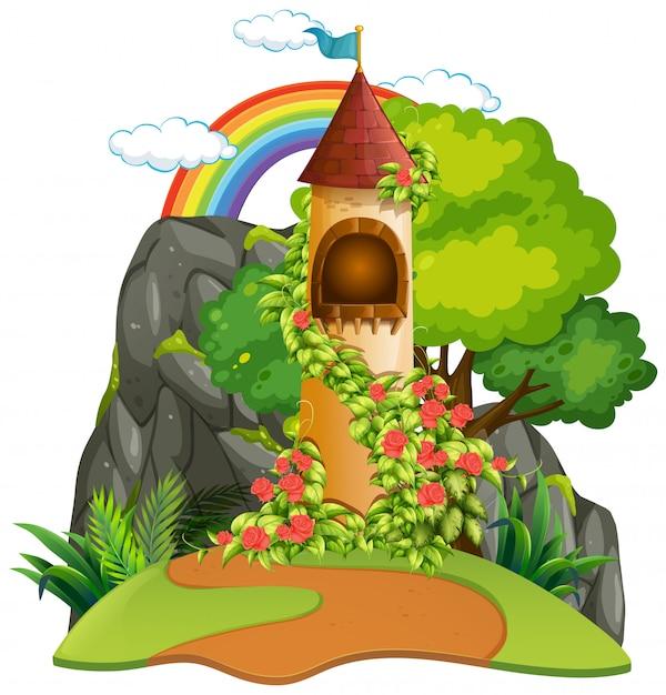 Un fond de tour de château Vecteur gratuit