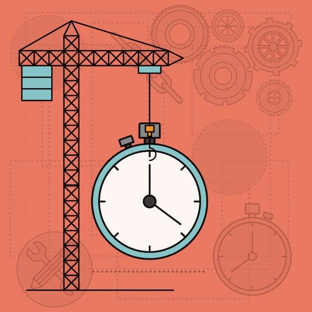 Fond, tour grue, horloge Vecteur Premium