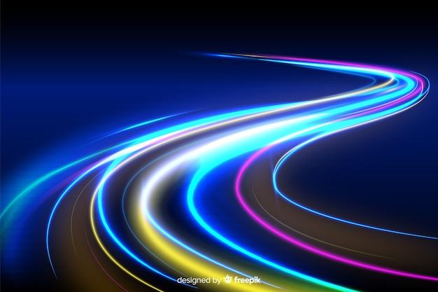 Fond de traînée de lumière colorée néon néon Vecteur gratuit