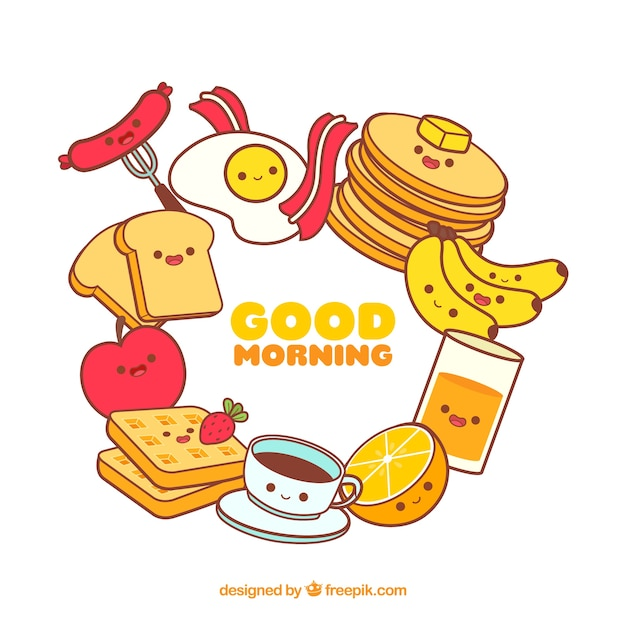 Fond de trame de nourriture de petit déjeuner Vecteur gratuit