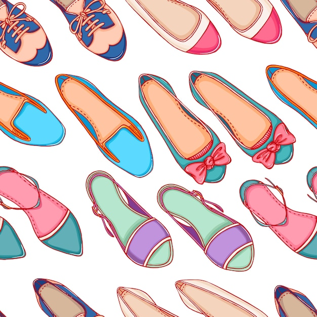 Fond Transparent Avec Des Chaussures De Différentes Couleurs Sur Fond Blanc Vecteur Premium
