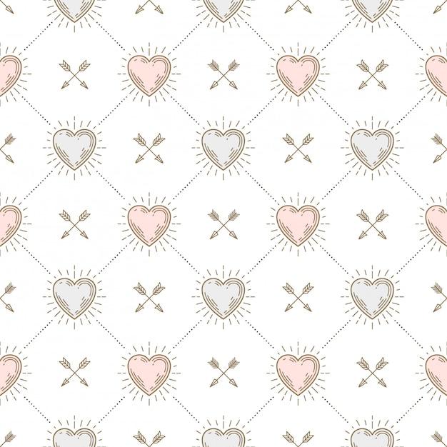 Fond Transparent Avec Des Coeurs Et Des Flèches - Motif Pour Papier Peint, Papier D'emballage, Page De Garde De Livre, Enveloppe à L'intérieur, Etc. Vecteur Premium